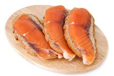 Free Juicy Snack From Slices Salmon Stock Photo - 1785010