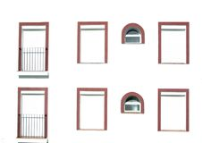 Windows With Red Frames Stock Photos