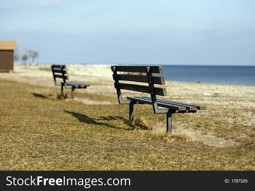 Benches on a beach