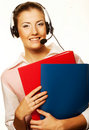 Free Call Center Woman With Headset. Royalty Free Stock Images - 17800859