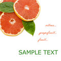 Free Fresh Juicy Grapefruits And Green Leafs Royalty Free Stock Image - 17806966