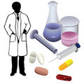 Free Medications And The Silhouette Of A Physician. Stock Photos - 17808313
