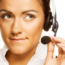 Friendly Secretary/telephone Operator Stock Images