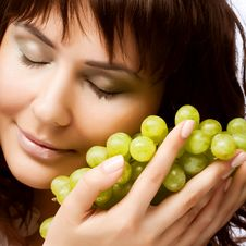 Free Young Woman With Green Grapes Royalty Free Stock Image - 17800626