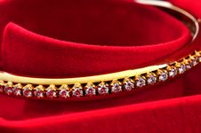 Diamond On The Golden Bracelet Stock Images