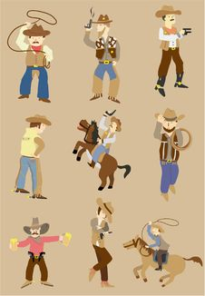 Free Cartoon Wild West Cowboy Icon Royalty Free Stock Images - 17801439