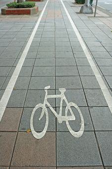 Bicycle Lane Symbol Royalty Free Stock Photo