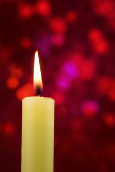 Free Candle On Red Background Royalty Free Stock Images - 17802799