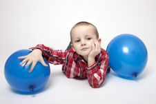 Free Portrait Of Cute Boy With Blue Balloons Stock Photo - 17803530