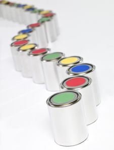 Free Colored Paint Cans In A Row Royalty Free Stock Photography - 17803747