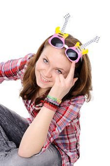 Free Young Girl Wearing Silly Glasses Stock Photos - 17803813