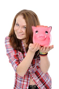 Young Woman  With Piggy Bank Royalty Free Stock Photo