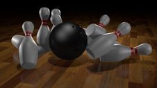 Free Skittles And Ball For Bowling. Illustration Royalty Free Stock Photography - 17804387