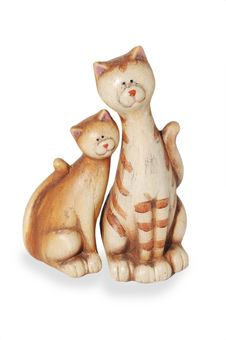 Two Clay Funny Enamoured Cats Royalty Free Stock Images