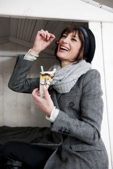 Free Happy Woman Enjoying Sweet Royalty Free Stock Images - 17804699