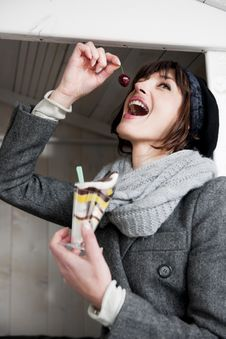 Free Happy Woman Enjoying Sweet Stock Photo - 17804740