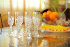 Free Empty Glasses On The Glass Table Stock Photos - 17804763