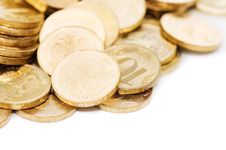 Free Golden Coins Isolated On White Stock Image - 17805431