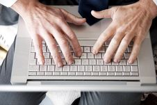 Free Man S Hands On Computer Keyboard Royalty Free Stock Images - 17805499