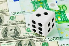 Free Dice On Money Background Royalty Free Stock Images - 17805629