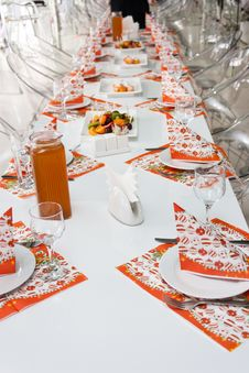 Catering Table Set Royalty Free Stock Photo