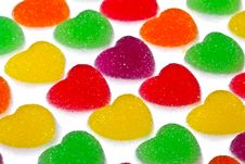 Free Heart Shape Colorful Jelly Coated With Sugar Stock Images - 17806564