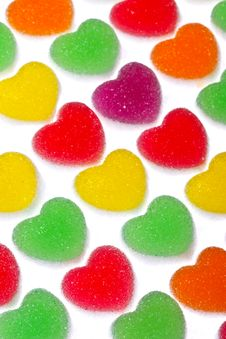 Free Heart Shape Colorful Jelly Coated With Sugar Royalty Free Stock Photography - 17806597