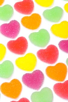 Free Heart Shape Colorful Jelly Coated With Sugar Royalty Free Stock Images - 17806639