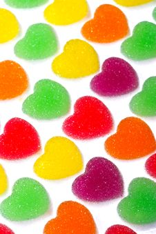 Free Heart Shape Colorful Jelly Coated With Sugar Royalty Free Stock Photography - 17806667