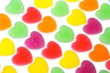 Free Heart Shape Colorful Jelly Coated With Sugar Royalty Free Stock Image - 17806816
