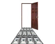 Free Money Leading To The Door Royalty Free Stock Photography - 17807067