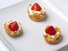 Free Strawberry Tarts On A Sqare Plate Royalty Free Stock Photos - 17807198