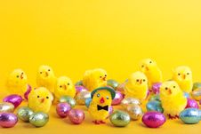 Free Easter Eggs And  Over Yellow Stock Photos - 17808063