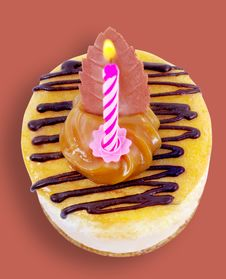 Cupcake With Candle. Royalty Free Stock Images