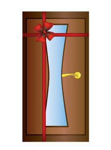 Door With A Red Ribbon.
