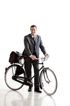 Free Businessman With Old-Fashioned Bicycle Stock Photo - 17808970