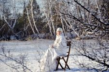 Free Woman In Winter Forest Stock Images - 17809014