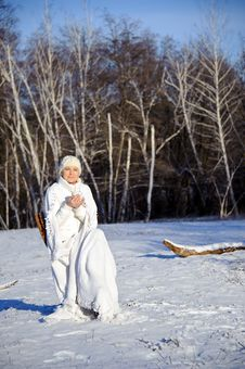 Free Woman In Winter Forest Royalty Free Stock Photos - 17809268