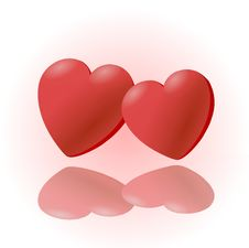 Free 2 Red Heart  Clipart Royalty Free Stock Photo - 17809555