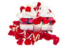 Free Gift Decorated Ribbon And Rose Petals Stock Photo - 17809610