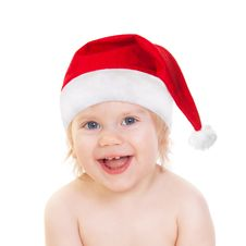 Free Laughing Cute Baby Girl In Santa Hat Stock Photography - 17809922