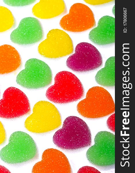Heart shape colorful jelly coated with sugar