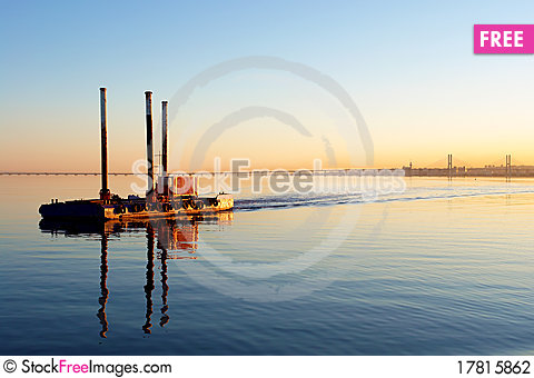 Free View Of Boat In Lisbon S Tagus River And Stock Photography - 17815862