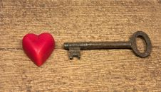 Free Old Key And Little Red Heart Royalty Free Stock Photos - 17810438