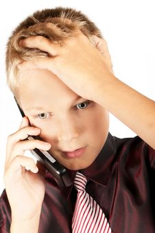 The Business Teenager Agrees On The Phone Royalty Free Stock Photos
