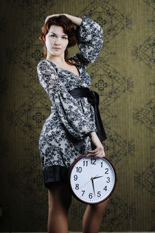 Free Woman With Clock Stock Photography - 17811232