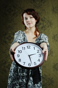 Free Woman With Clock Stock Photo - 17811240