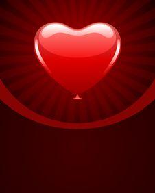 Free Heart As Air Balloon With Ribbon Royalty Free Stock Photos - 17811288