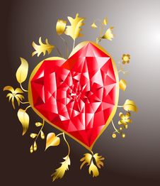 Free Golden Heart With Ruby Stock Images - 17811474
