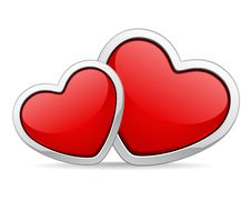 Free Two Red Glossy Hearts In Perspective Royalty Free Stock Images - 17811509